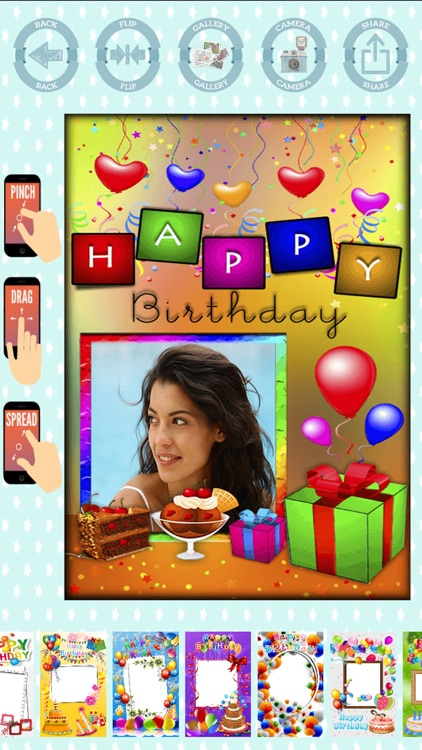Happy birthday frames to create cards with photos