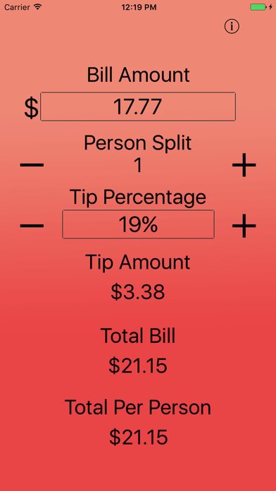 Just The Tip - Tip Calculator screenshot one