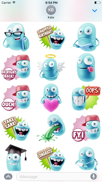 3D Blue Smiley Stickers screenshot-3