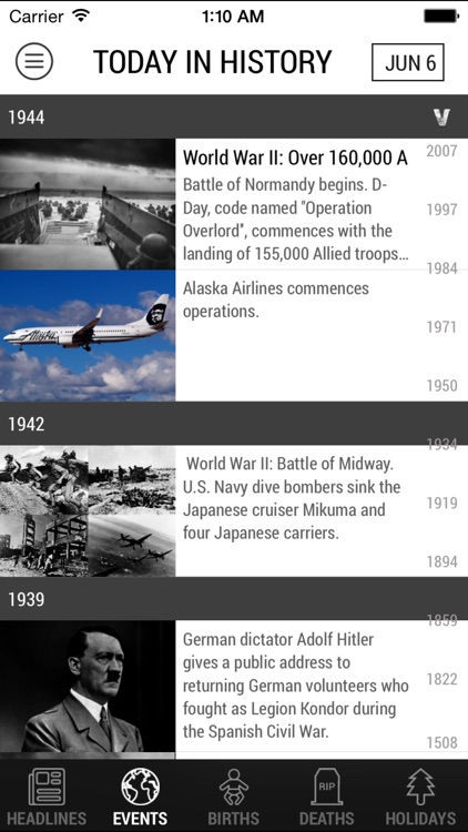 Today In History - free world events, quotes, etc.