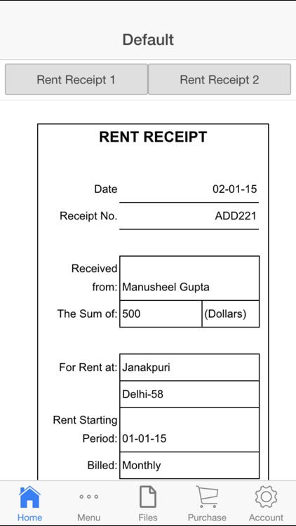 Rent Receipt screenshot-0