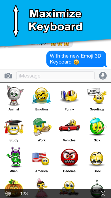 Animated 3D Emoji - Keyboard Screenshot