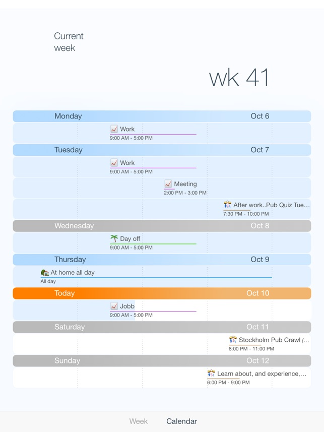 Week calendar, simple and elegant emoji calendar Screenshot