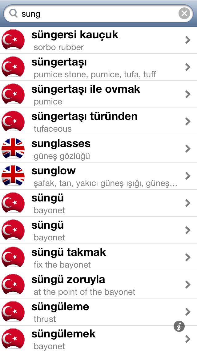 Offline Turkish English Dictionary Translator for Tourists, Language Learners and Students screenshot one