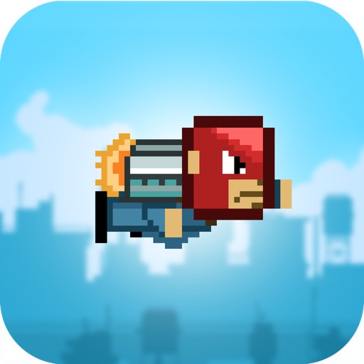 Action of Jet-pack Man - Fun Easy Physics Tap Jump 8-Bit Pixel Adventure For Kids