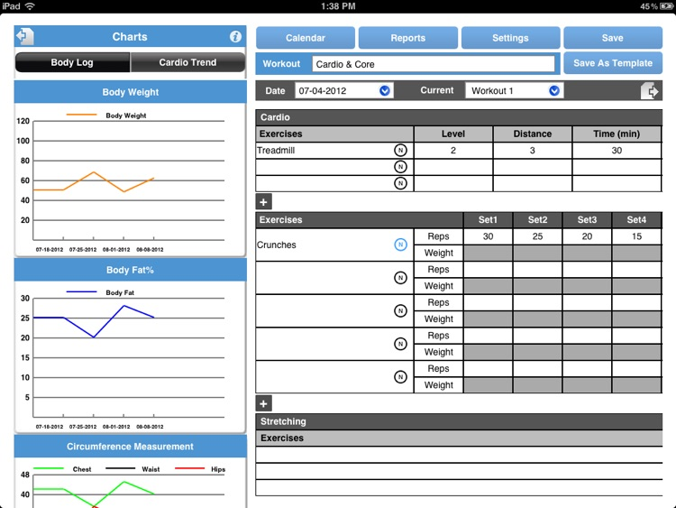 WorkoutJournal for iPad