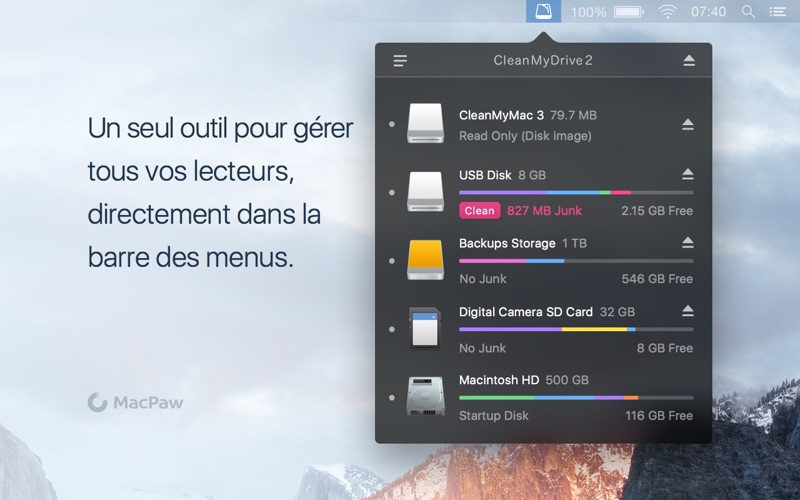 Screenshot #1 pour CleanMyDrive 2
