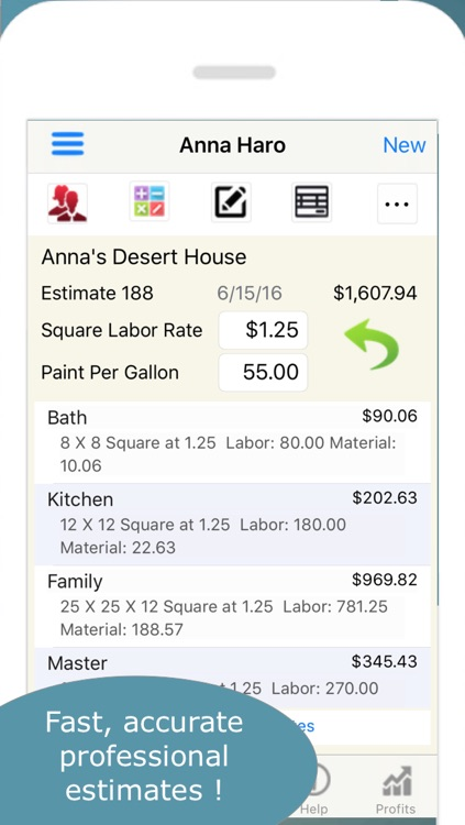 Painting Contractor Estimating and Invoicing Tool (for many trades: Painters, Decorators, Designers, Artists, Wallpaper, Handymen, Home Improvement, Carpenters, Home Builders and more) screenshot-1