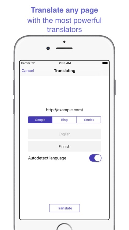 ReTranslator - translating web pages and extension for Safari
