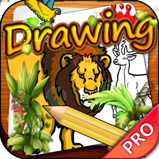 Drawing Desk Wild Animals : Draw and Paint Coloring Book Pro For Kids