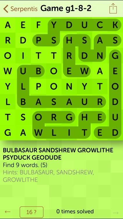 Serpentis: Word puzzle for Pokémon names