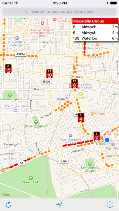 London Live Bus Map - Countdown and Arrivals
