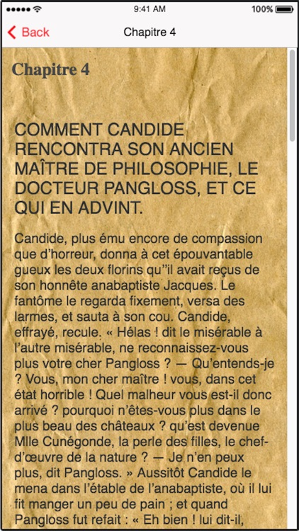 Candide (French), text + audio screenshot-0
