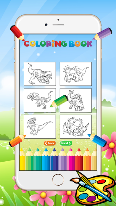 Dinosaur Dragon Coloring Book - Drawing for kid free game, Dino Paint and color games good screenshot two