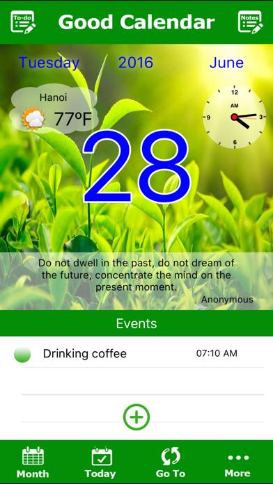 Good Calendar Free- Beautiful Calendar, To-do List, Weather, Notes Locker screenshot one