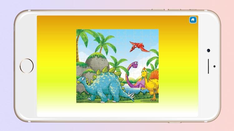 Dinosaur World Cartoon Jigsaw Magic Puzzle Fun Game for Kids screenshot-3