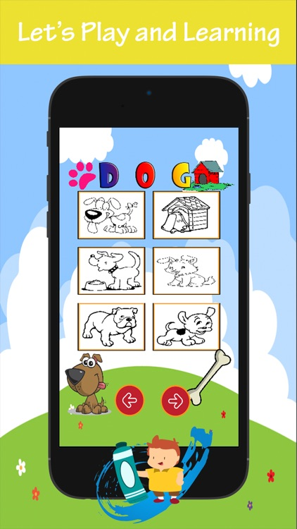 Dog Coloring Book For Kids: Drawing & Coloring page games free for learning skill screenshot-3