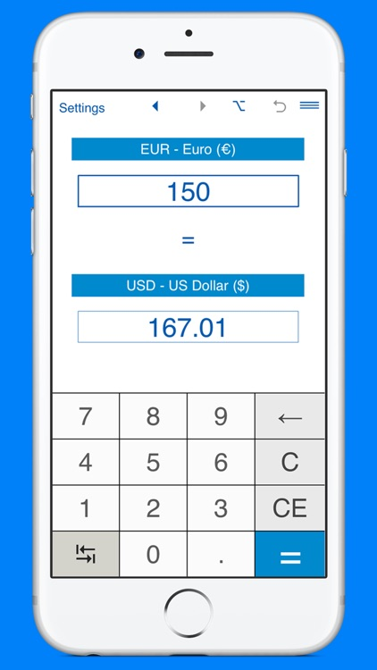 US Dollars to Euros and EUR to USD converter screenshot-2