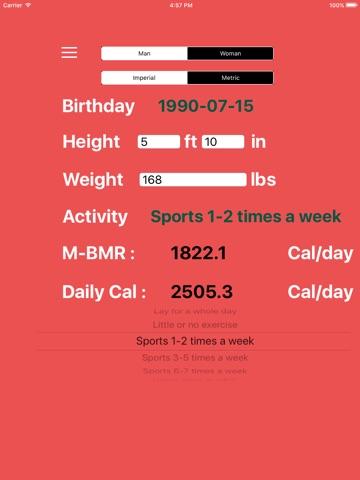 Calorie intake and bmr calculator.