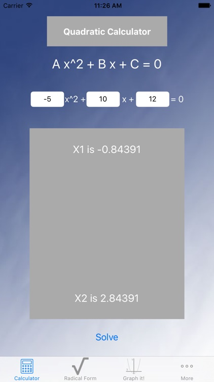 Blue Quadratic Solver by The Fizix Group