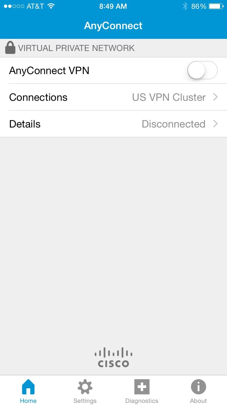 Cisco Legacy AnyConnect Screenshot
