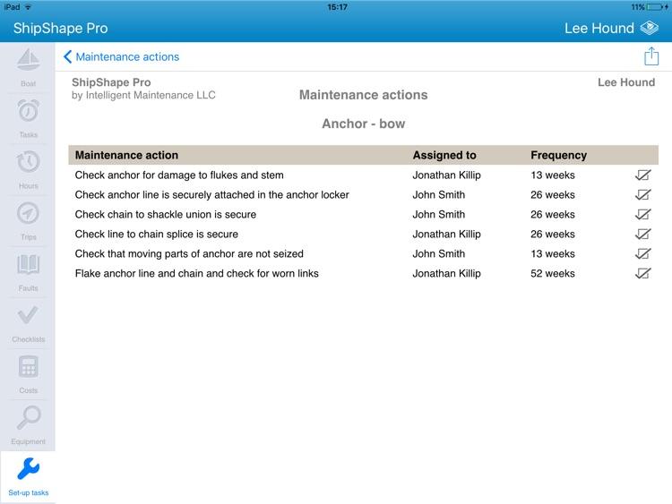 ShipShape Pro -  Boat Maintenance App for iPad