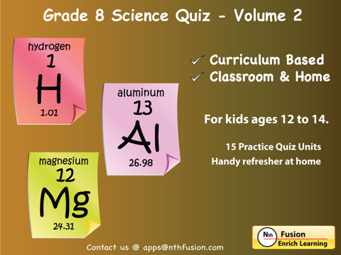 8th Grade Science Quiz # 2 : Practice Worksheets for home use and in school  classrooms   App Price Drops