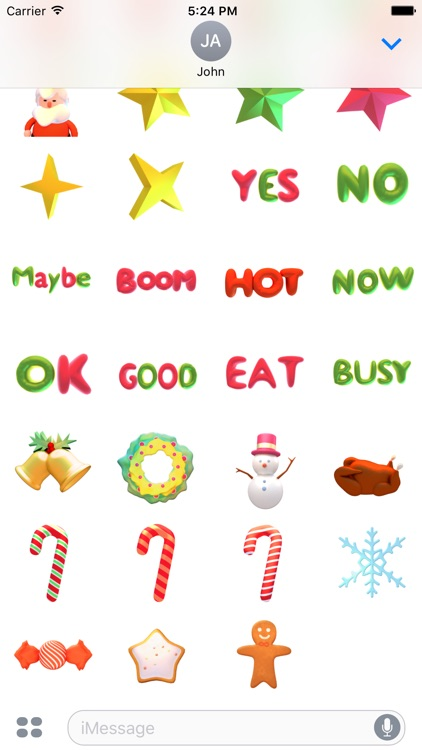 Santa! Cute 3D Emoji and Text Stickers for iMessag screenshot-3