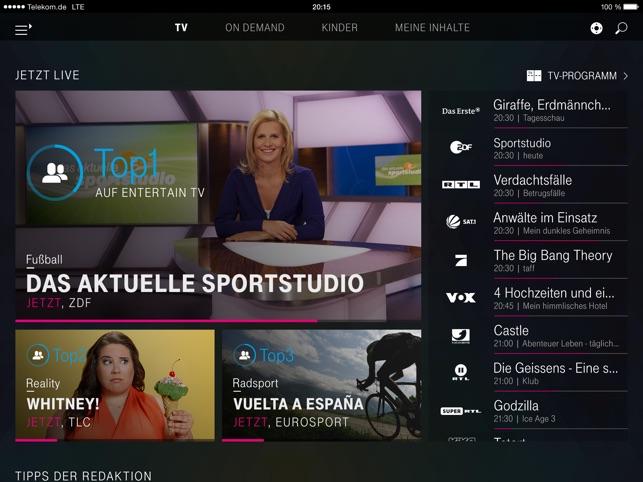 EntertainTV mobil für iPad Screenshot