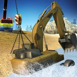 Stuck Excavator: Crane Rescue