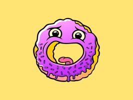 Stickers whith funny Tom Donut, party does not pass without him, with him it is better not to argue and bicker