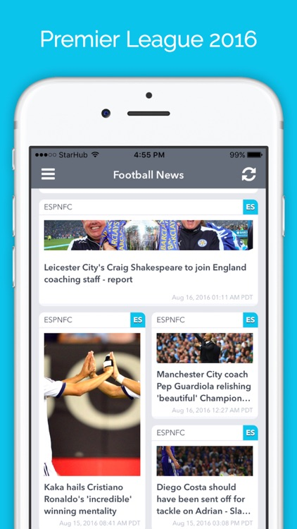 Live Score for Premier League 2016 EPL News App