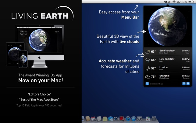 Living Earth - Desktop Weather & World Clock Screenshot