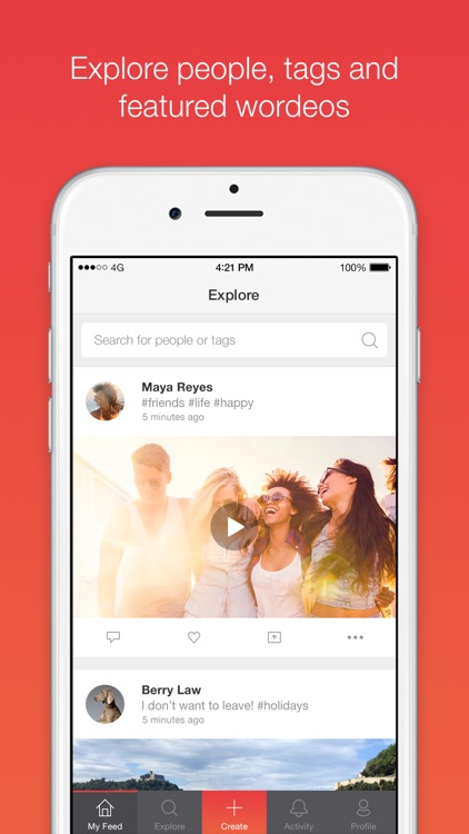 Wordeo: Upload & edit videos to create & share e-cards with your friends screenshot-0