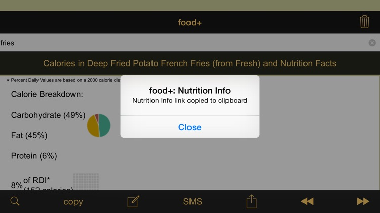 food+: Food & Calorie Information and Nutritional Content