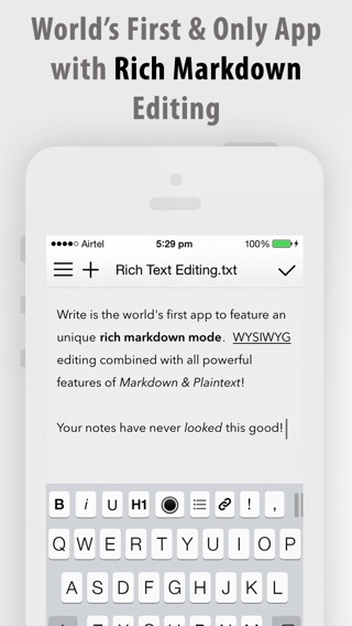 Write for iPhone - A Note Taking and Markdown Writing App Screenshot
