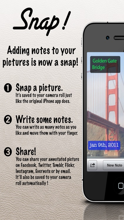 Snap Camera! - Write notes on your pictures the easy way.
