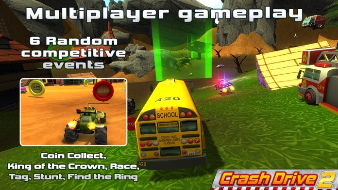 Crash Drive 2: The multiplayer stunt game, with monster trucks & classic muscle cars Screenshot