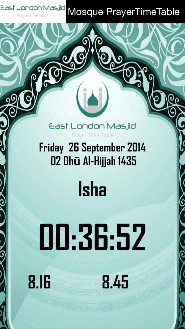 East London Masjid Prayer Time Table screenshot three