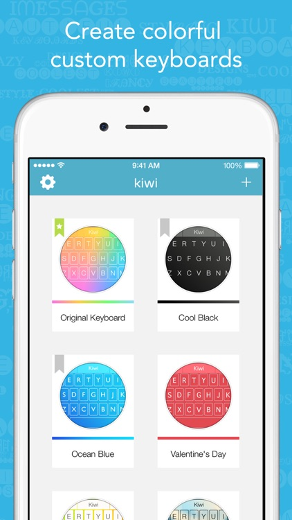 Kiwi - Colorful, Custom Keyboard Designer with Emoji for iOS 8 screenshot-0