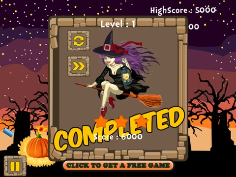 screenshot 1 for pumpkin bomb and blast strategy game little witch halloween arcade