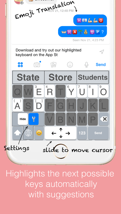 Highlighted Keyboard - Extra large Keyboard with next key hints screenshot two