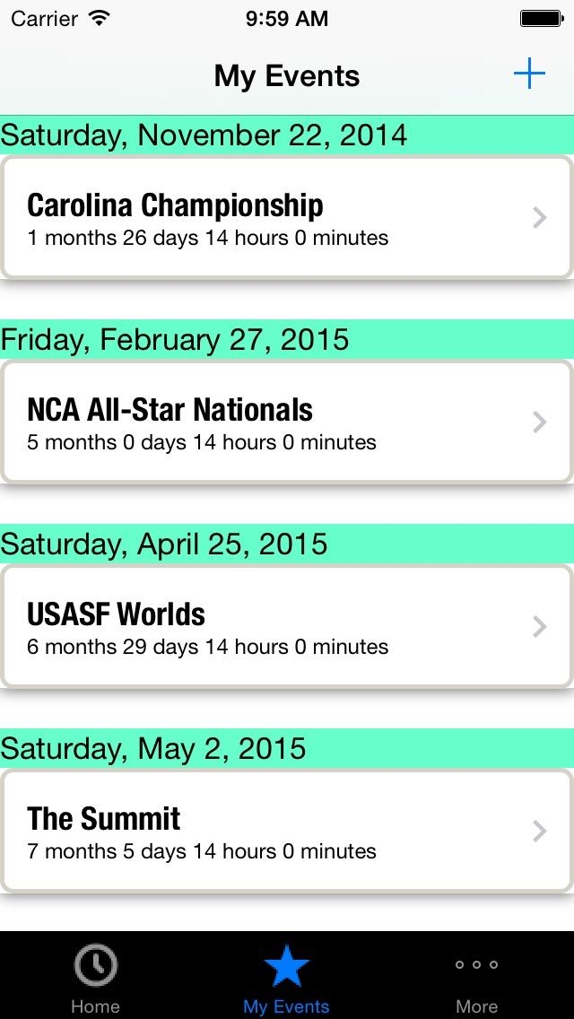 Screenshot #2 for 2015-16 All Star Cheerleading and Dance Competition Schedule & Countdown
