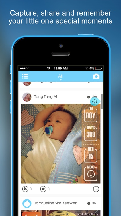 InstaB For Baby - Beautiful way to share baby's milestones, growth and advice