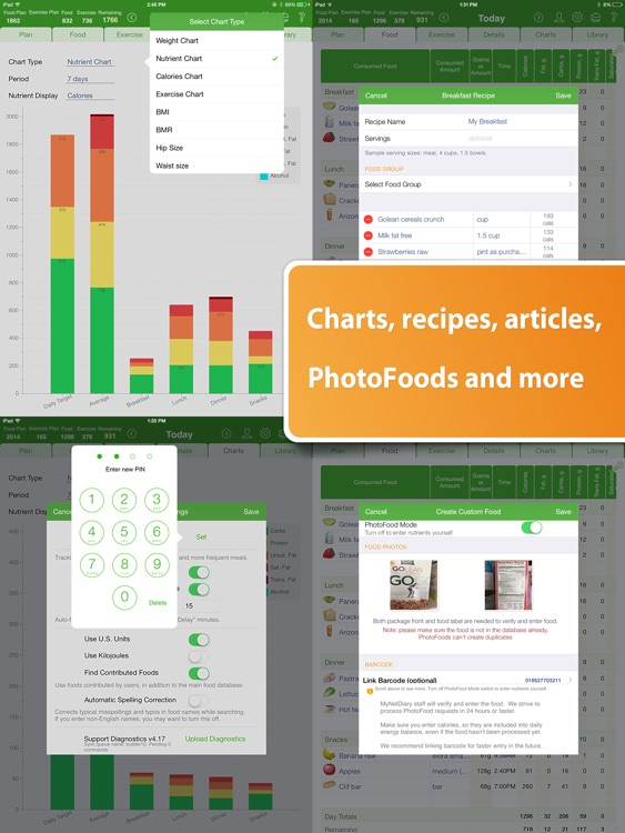 Food Diary and Calorie Tracker by MyNetDiary HD screenshot-3