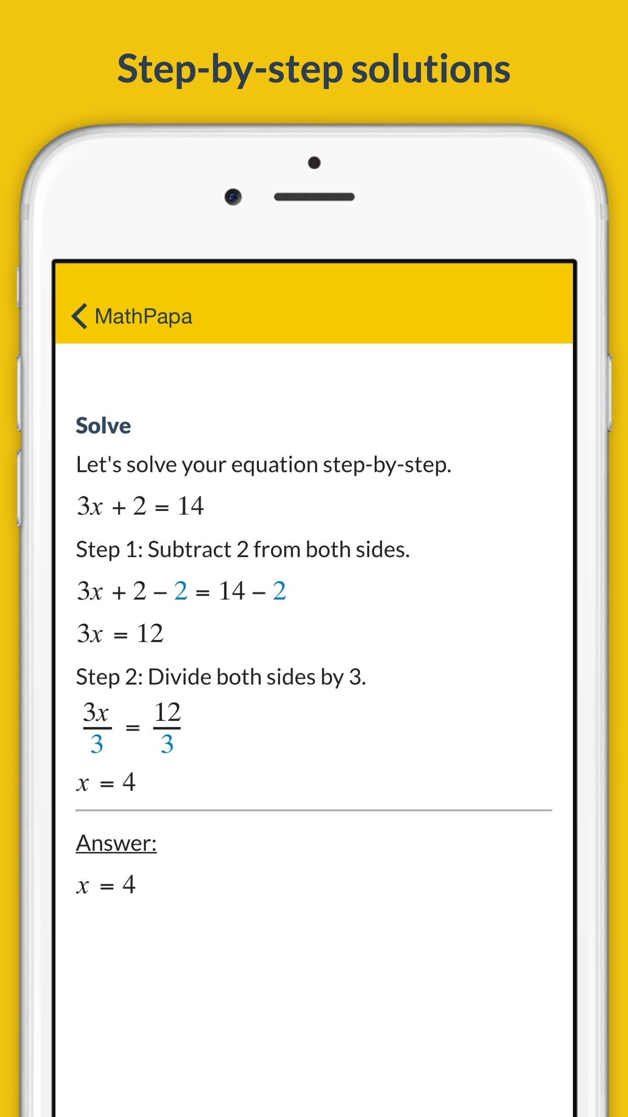 MathPapa - Algebra Calculator & Equation Solver App Screenshot