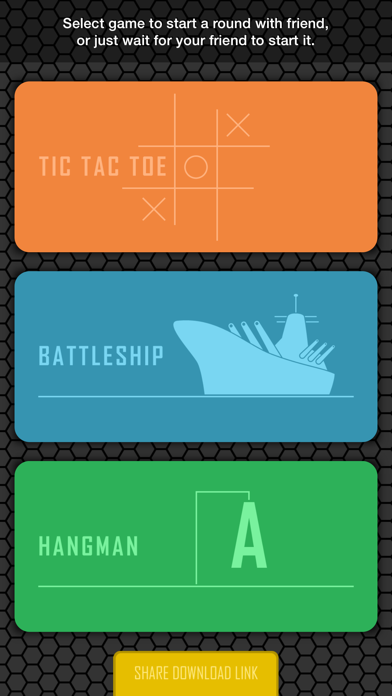 2 Player Games - Battleship, Hangman, Tic Tac Toe