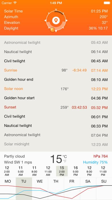 Deluxe Sun - sunrise, sunset, twilight and compass Screenshot