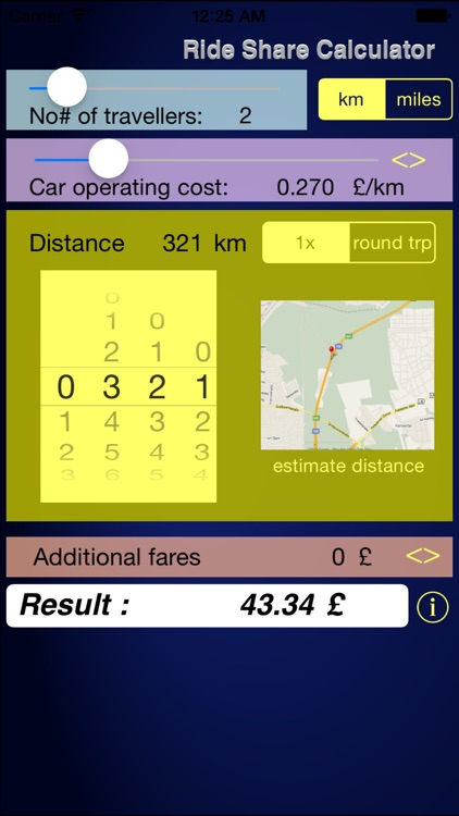 Calc-a-ride Fuel Cost & Ride Share Calculator