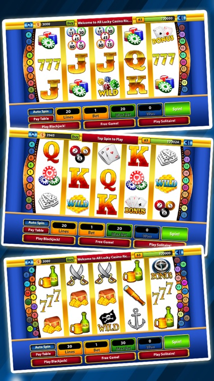 `Lucky Gold Rich Las Vegas Casino Coin Jackpot 777 Slots - Slot Machine with Blackjack, Solitaire, Bonus Prize Wheel screenshot-3